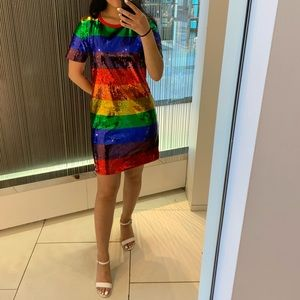 Michael Kors Rainbow Sequined Dress